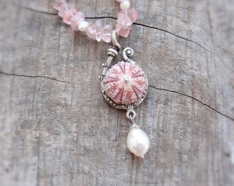 Sea Urchin Rose Quartz Necklace with Pearls