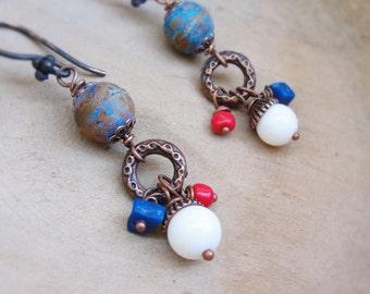 Sea Travels Earrings Coral, Lapis lazuli Stone, Copper Rustic Jewelry