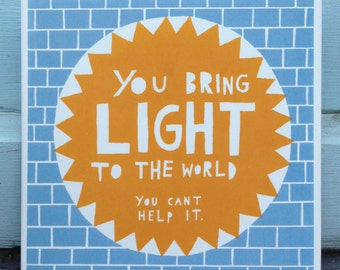 You Bring Light To The World , Ceramic Tile (Blue/ Orange)
