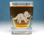 Triceratops dinosaur shot glass - square etched glass