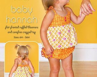 20% Off! Modkid PATTERN - Baby Hannah - Ruffled Bloomers and Cropped Top