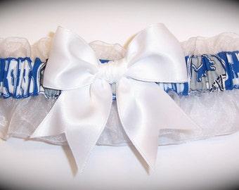 Detroit Lions Wedding Garter    Handmade  Keepsake and Toss   Bridal ws1