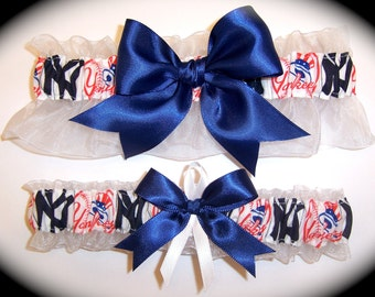 New York Yankees Wedding Garter Set    Handmade  Keepsake and Toss Bridal nw1