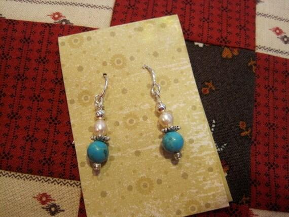 Turquoise, pearl earrings