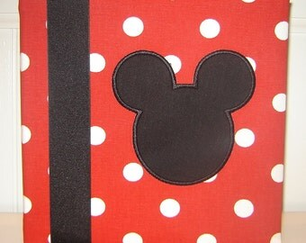 Red and White Polka Dot with Appliqued Mickey