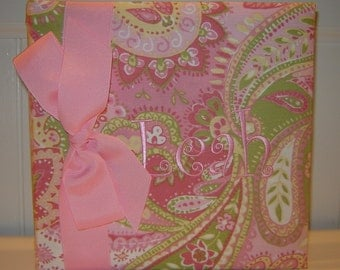 Pink and Green Paisley embroidered with Leah
