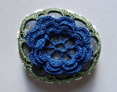 Table Decorations, Flower, Crochet Lace Beach Stone, Wedding, Handmade, Home Decor, Entertaining, Art, Blue