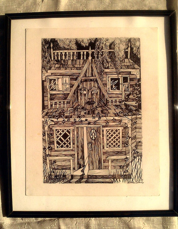 Dame Darcy, Witch House , One of a kind, black and white, pen and ink,  Illustration, Graphic novel, Gothic, Lolita, Manga, Dark Fantasy, En