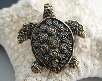 Naos - Sea Turtle Pendant - Mykonos Greek Pendant Antiqued Brass - Double Sided with Spirals