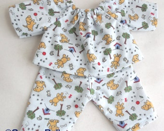 10 - 12 inch doll clothes - Puppy Pajamas for Waldorf style dolls - doll clothes for boys