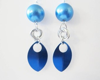Blue Pearl Mobius Chainmaille Scale Earrings Handmade