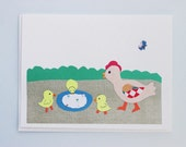 Mother Hen and Baby Chicks collage card by Emily Lin