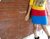 Tri-Color Jersey Harvest Pencil Skirt - Mustard/Golden, Red, Turquoise Blue