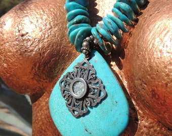 Turquoise and Sterling Silver Necklace, big focal stone