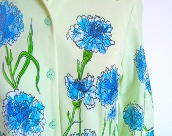 Vera Neumann Blouse - Baby Blue Carnations - a rare, vintage 1960's hand-painted, lucky ladybug shirt jacket top