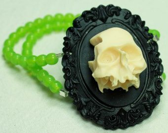 SALE - 3D Skull Cameo Bracelet in Black and Absinthe Green - SAVE 10