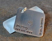 mod diamond pet tag - hand stamped in aluminum