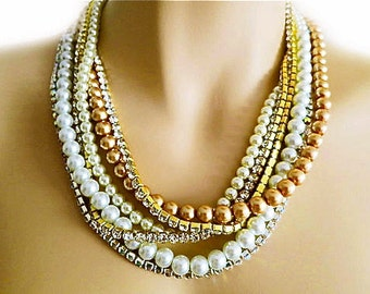 Pearl Rhinestone Wedding Necklace Bridal Chunky Necklace Wedding Jewelry for Brides Pearl Gold Statement Jewelry Special Occasion Champagne
