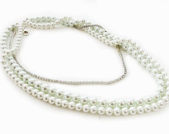 Wedding Pearl Necklace, Long Pearl Necklace, Bridal Necklace Pearl, Rhinestone, Wedding Jewelry for Bridesmaids, Pearl Bridal Necklace EDEN