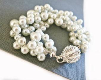 3 Strand Pearl Bracelet in Vintage Style for Bride Swarovski White Pearl and Crystal Bracelet Bridal Statement Wedding Jewelry Silver & Gold