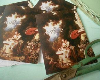 4 Fragonard Rococo Baroque Lovers MERCI Note Cards by Vintage Bella
