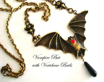 Gothic, Jewelry Necklace, Vampire Bat With Blood Red Heart, Vertebrae Bails, Vintage Bead Drop, Large Wings, Handmade USA