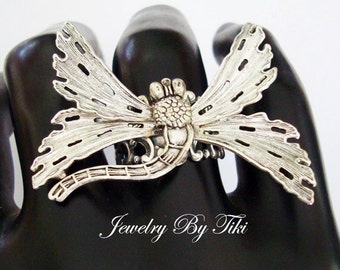 Exclusive Butterfly Ring, Unique Jewelry, Metal Bonded, NOT GLUED, Filigree Silver Wings, Handmade USA, Adjustable