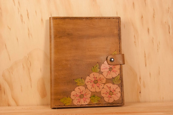 Leather iPad Case - Amy pattern with flowers - Pink, green and antique brown
