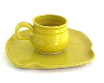 Soup and Sandwich Set -  Yellow Glaze
