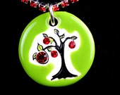 Apple Tree Sparkle Surly Necklace with Swarovski Crystals and RED Rhinestone Chain