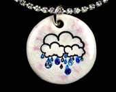 Rainy Day Sparkle Surly Necklace in Pink Crackle with Swarovski Crystals