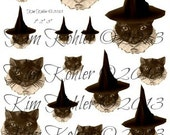 Witch Cat Halloween Printable Digital Instant Download Tags Collage Sheet Vintage Sizes Circles OFG Team