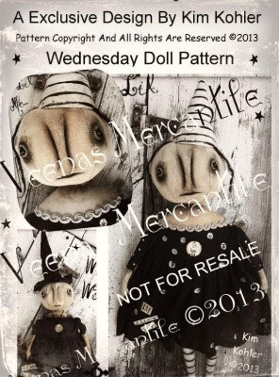 Primitive Doll Pattern Witch Halloween PDF E Patterns E-Pattern email Pumpkin Raggedy Patterns Goth Cloth Fabric Sewing Kim Kohler