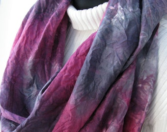 Silk Infinity Scarf for Women- Maroon Red and Gray Scarf -Hand Dyed Silk Scarf -Abstract Design Cowl Scarf -Womens Infinity Scarves