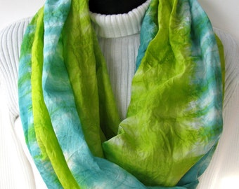 Womens Infinity Scarf gift for her mom  Celadon Green and Chartreuse Green Scarf- Summer Scarf womens scarves multicolor scarf hand dyed