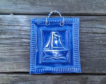 Jaunty Sailboat Tile in Cobalt Blue