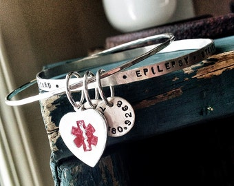 Medical Alert Bracelet - Medical Alert Jewelry - Medical ID Bracelet - Sterling Silver Bangle Bracelet - Medical Bracelet -Personalized 1029