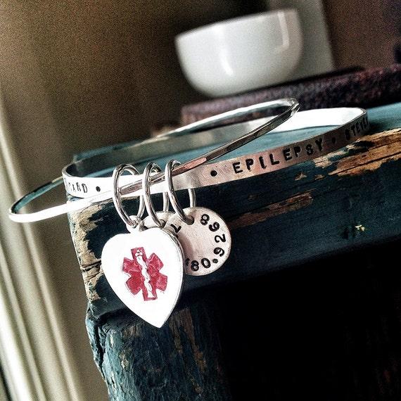 Medical Alert Bracelet - Medical Alert Jewelry - Medical ID Bracelet - Sterling Silver Bangle Bracelet - Medical Bracelet -Personalized 1029
