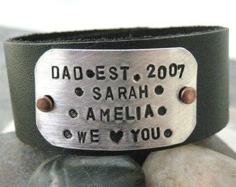 Personalized Fathers Day Bracelet, Dad, We Love You Dad, 1 inch leather cuff, customizable, mens jewelry, MADE TO ORDER