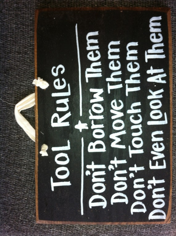 Tool rules sign unique gift for man dad Fathers day garage decor