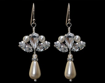 Four pairs of Sterling Silver Vintage Style Bridal Earrings made with Swarovski Crystal Rhinestones & Pearls