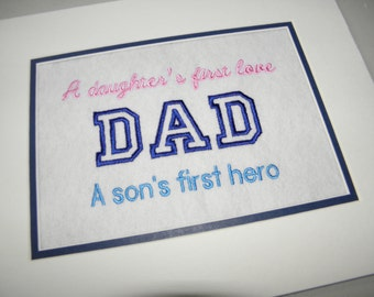 "DAD Fathers Day  Embroidery Quote Matted 10"" x 8"" - Ready to Ship"