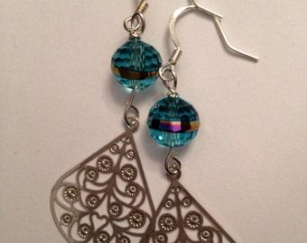 Filagree dangle earrings, silver earrings, long earrings