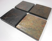 POLISHED SLATE COASTERS, 4 Assorted, Varnished to Enhance Colors, Natural Stone Coasters, Coasters for Drinks, Coasters Nature, Do Not Stick