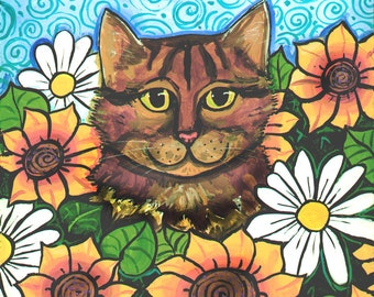 Tabby Calico Cat  Sunflowers Daisies PRINT Shelagh Duffett