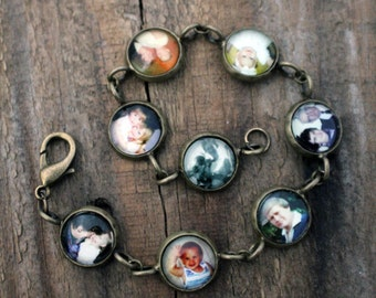 Customized Photo Link Charm Bracelet - Silver or Bronze - Personalized Keepsake with YOUR images - Gift for Mom, Wife, Wedding