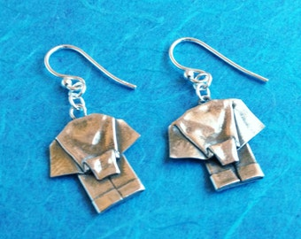 Silver Origami Elephant Earrings Hand Folded Fine Silver