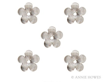 Moroccan Flower in Matte Silver Embellishments for Jewelry. Matte Silver. Pack of 5. MOBS-5B