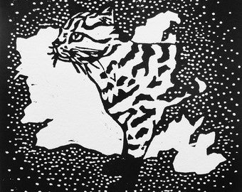 I for Iriomote Cat (woodcut)