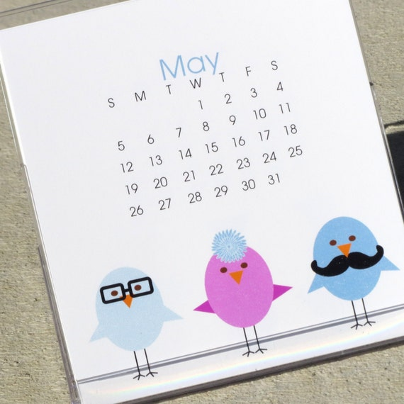 2013 Mustache Desk Calendar - Modern Illustrated